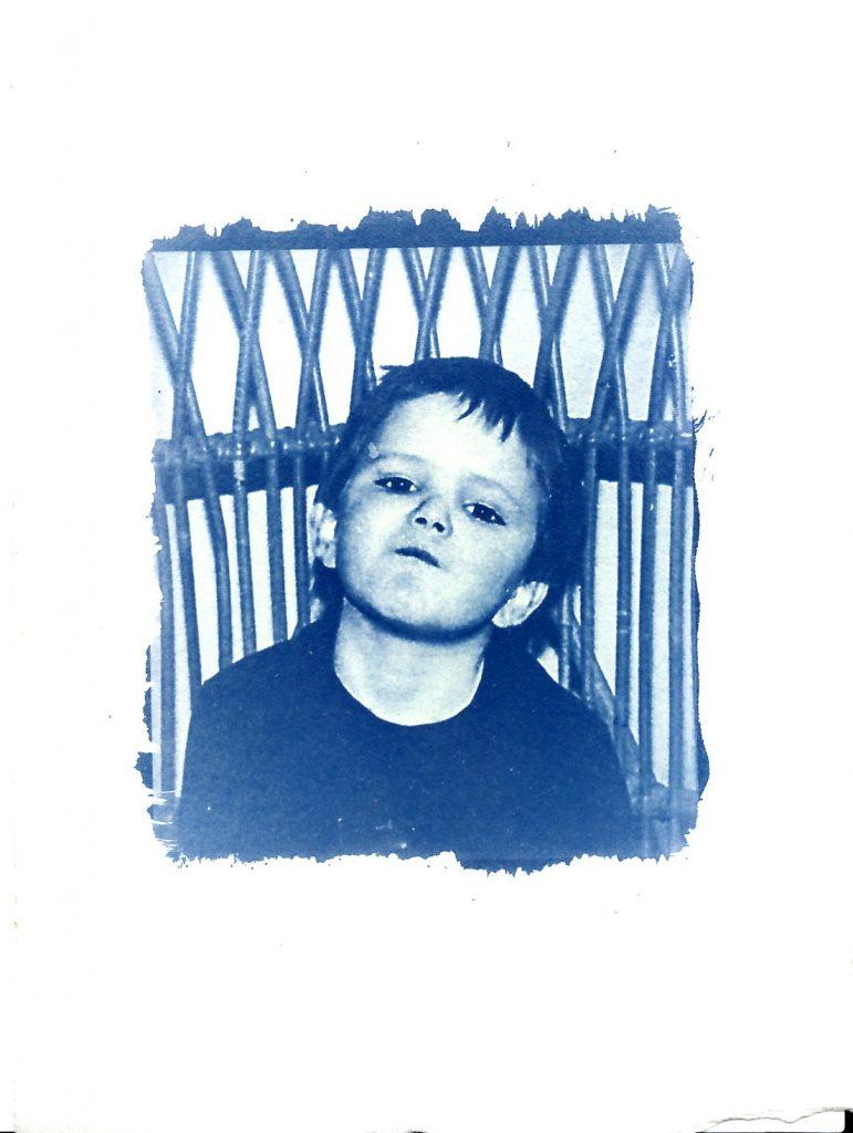 Cyanotype print of young boy