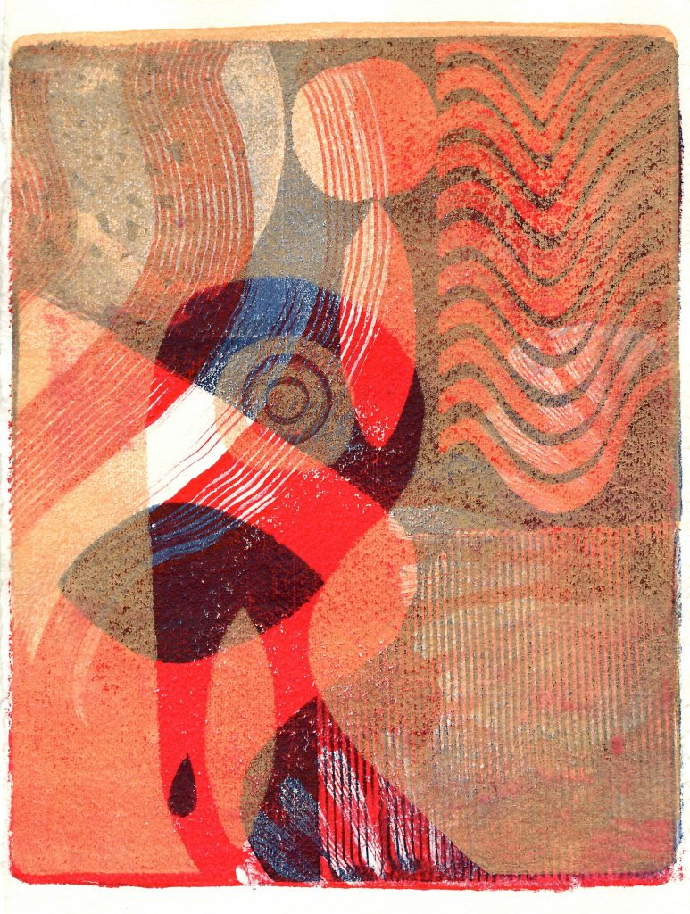 Abstract gel monoprint with acrylic
