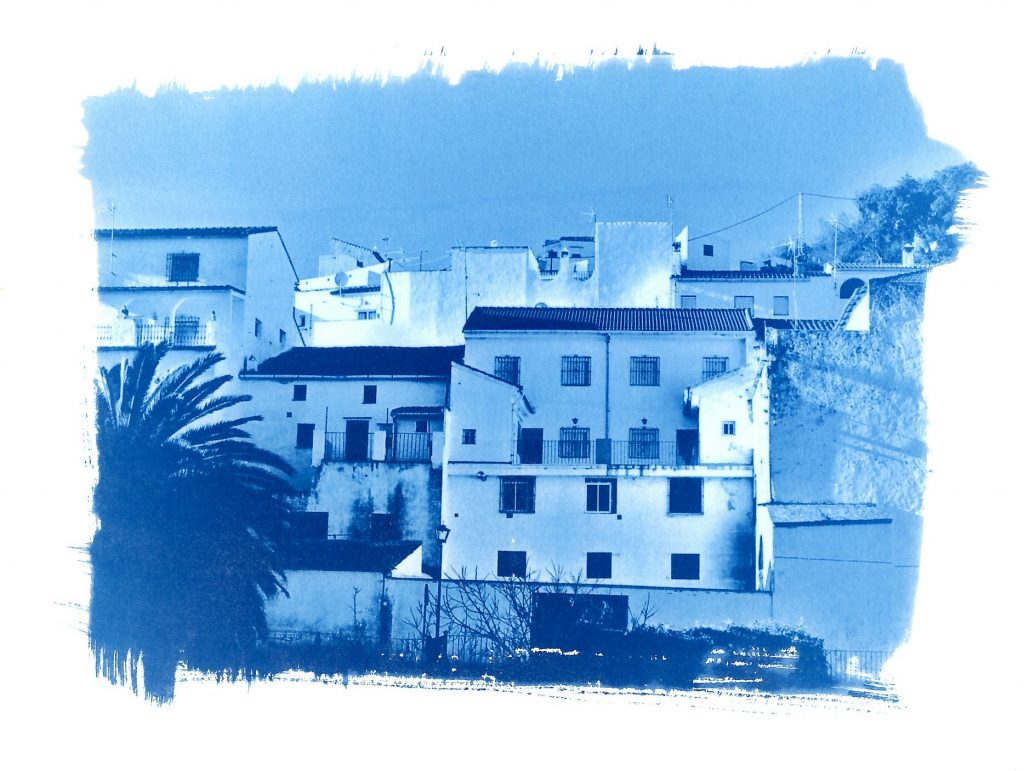 Cyanotype image of an Andalucian white village
