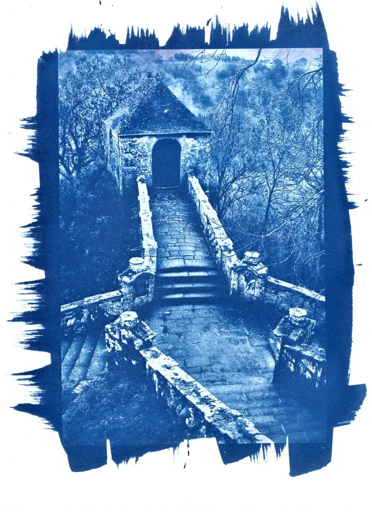 Cyanotype print of old stone stairway and gatehouse