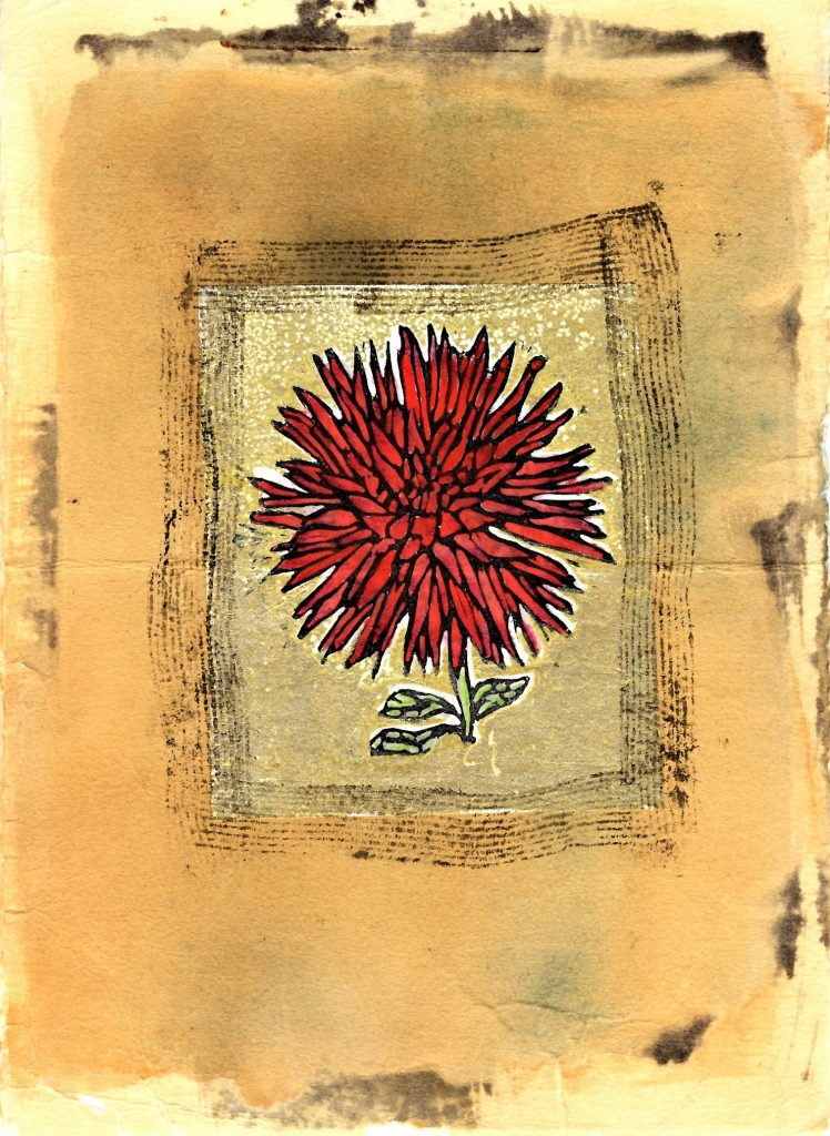Linocut, monoprint, mixed media. Chrysanthemum flower