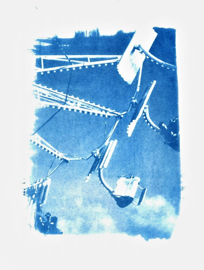Cyanotype print of fairground ride in Brittany