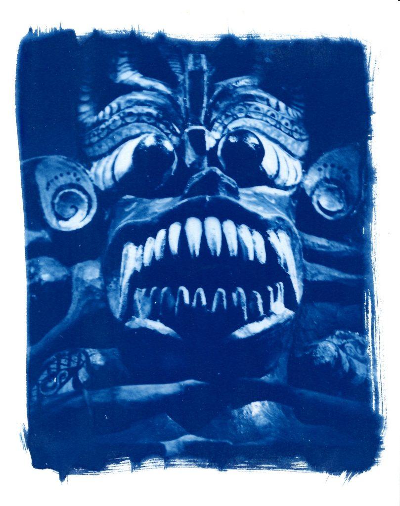 Cyanotype print of an Indonesian mask