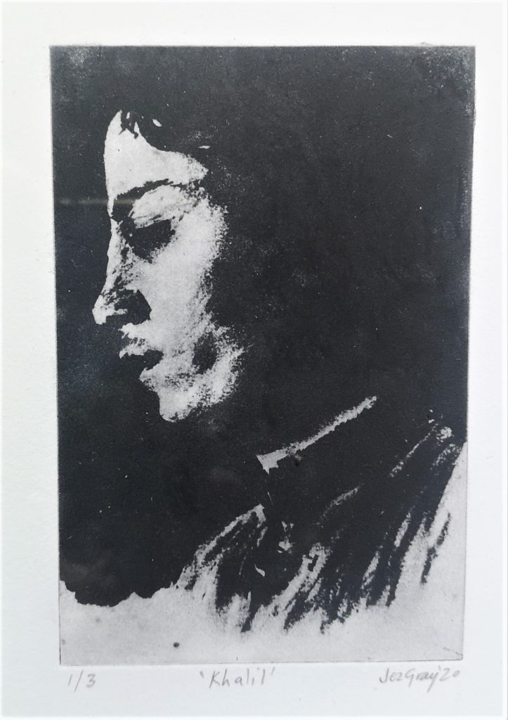Intaglio etching print of charcoal drawing