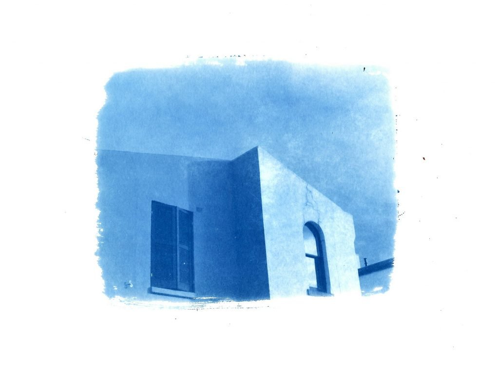 Cyanotype print of a modern architecture building in Melbourne