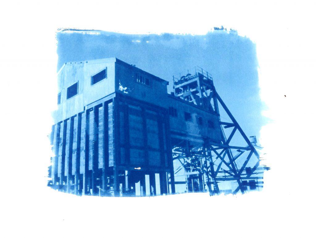 Cyanotype print of a mine pithead building in Broken Hill, Australia