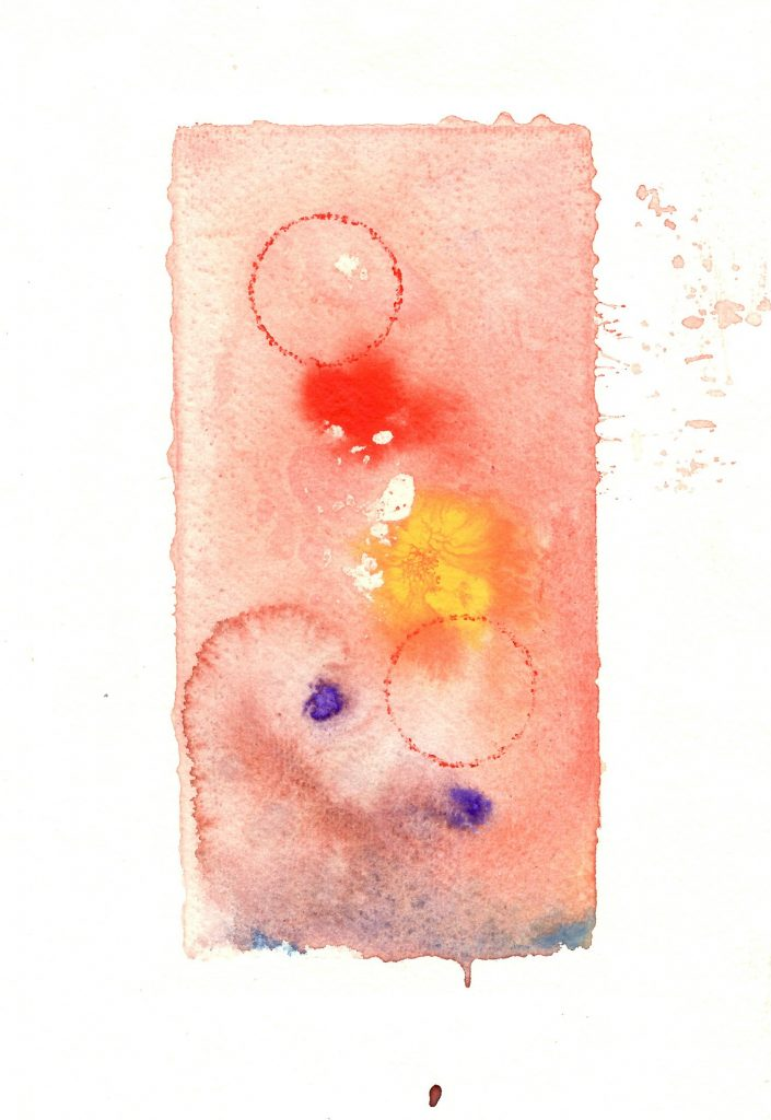 Abstract monoprint with watercolour/ red/ yellow/ purple
