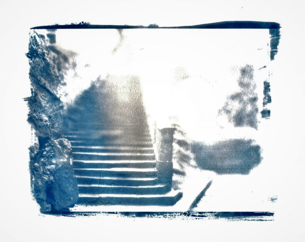 Cyanotype print of old stone staircase