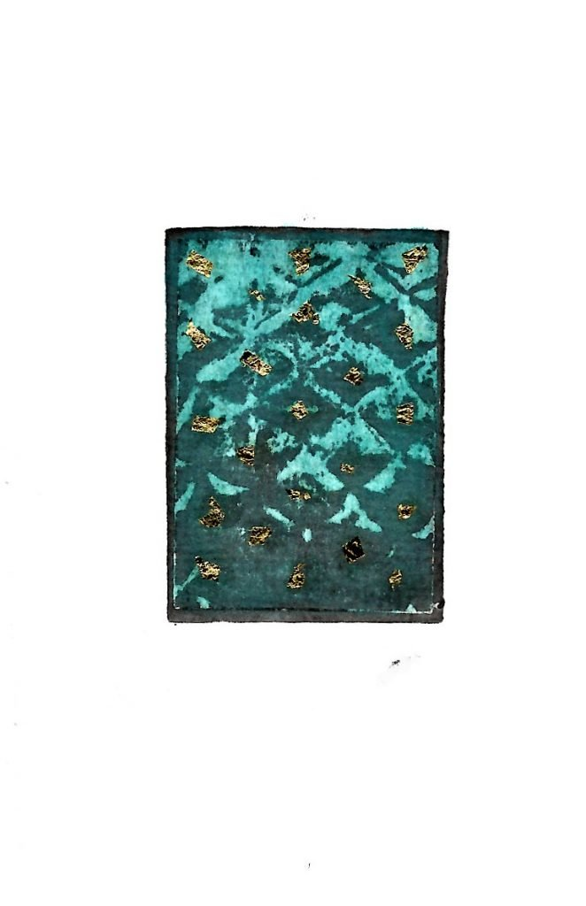 Relief photoetching print/ Turquoise/ gold leaf